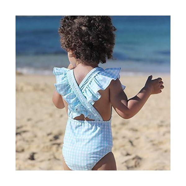 Heetey Bañador para niña, niño y niña, diseño de Rayas y Flores, una Sola Pieza, Traje de baño de Rayas 5