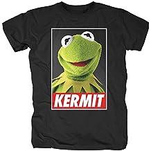 Muppets Camiseta Disney para Hombre Póster Kermit Algodón Negro