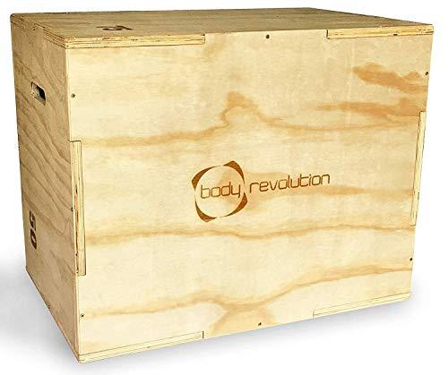 Body Revolution Holz Plyo Box - 3-in-1 Höhen - 50cm,60cm und 75cm - Plyometrie Jump Box für Crossfit -