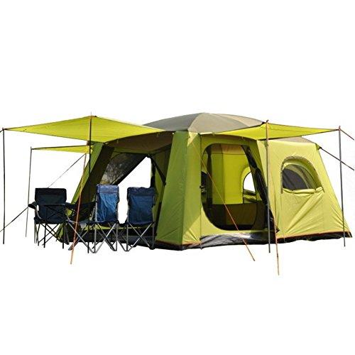 Zelt für Outdoor Sports, zwei Schlafzimmer ein Wohnzimmer 5–8Personen 10–12Personen Vier Zimmer Mehrpersonen-Tourismus zweistöckigen Große Zelt Outdoor Camping mit Große Belüftungsöffnungen Familie Camping Zelt, grün