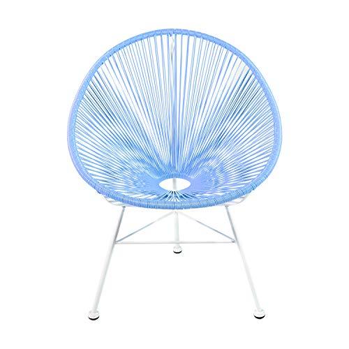 Retro Acapulco Lounge Relax Sessel Rahmen & Füße Pulverbeschichtet Indoor & Outdoor HIMMELBLAU Gestell Weiss