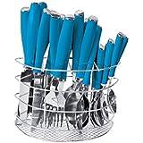 Juego de cubiertos de 24 uds., de acero inoxidable, con mango de plástico de color, cestilla de acero inoxidable incluida - azul