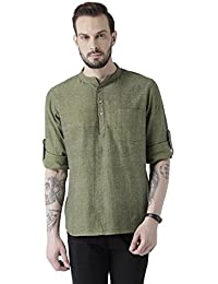 Vivids India Men's Cotton Green Kurta - G-215