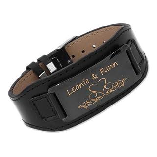 aplusashop ID Leder Armband mit Edelstahlplatte inkl. Gravur nach Wunsch in 3 Farben + Box (Schwarz+ Schwarze Platte)