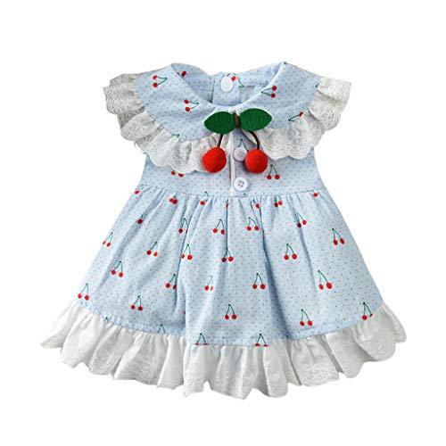 YWLINK Haustier FrüHling Und Sommer RüSchen Elegant Süß Party Kleid Atmungsaktiv Kirschdruck Rock-Kleidung Haustier-Hunderock(Blau,S) (Rosa Und Schwarze Barbie Party Supplies)