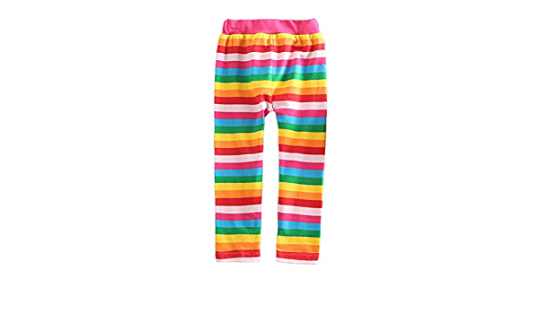 VIKITA Leggings Cotone Pantaloni Righe Arcobaleno Bambine e Ragazze Bambina F5508 6T
