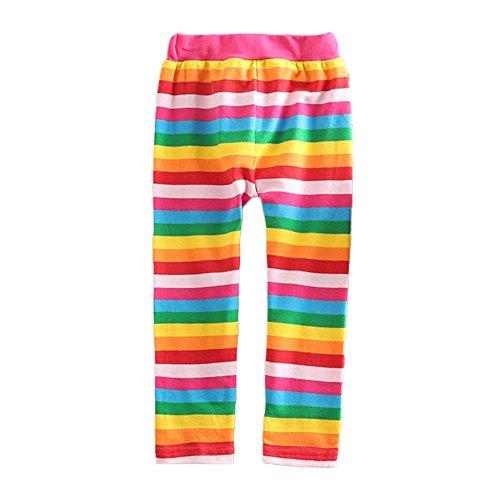 VIKITA Kids Girls Cotton Rainbow Stripe Full Length Spring Summer Pants Leggings