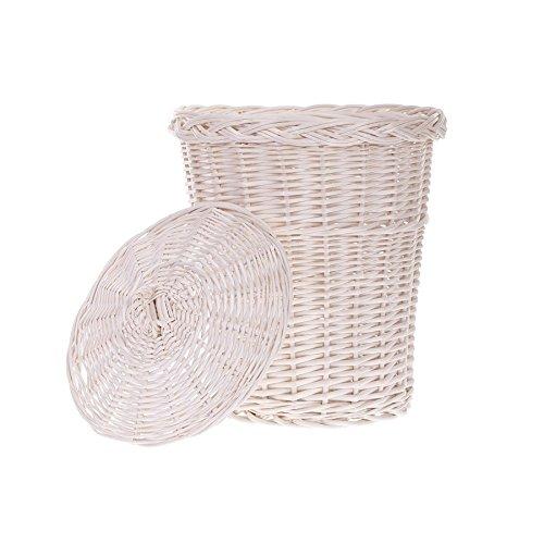 Mülleimer, Mülltonne aus Weide, Abfalleimer, weißer Müllkorb mit einem Deckel, Papierkorb - Deckel Mit Mülleimer Weiß