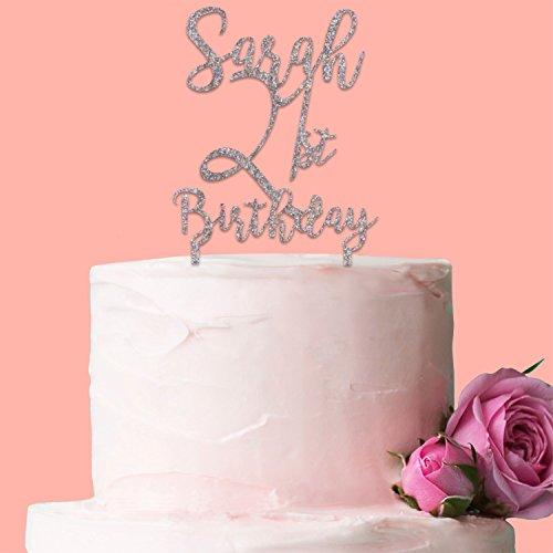 Und Süß Flirty (Kakes Tortendekoration, personalisierbar zum Geburtstag mit Name und Alter–Erhältlich in 6verschiedenen Glitzer Farben.)