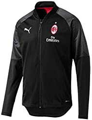 Puma AC Milan Stadium Poly Sponsor Logo with Zipped P, Giacca Tuta Uomo, Nero Black/Tango Red, L