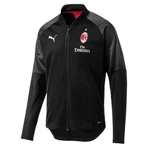 PUMA Herren AC Milan Stadium Poly Jacket Sponsor Logo with Zipped p Trainingsjacke, Black-Tango Red, S - Milan-bekleidung Ac