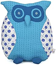 Kopai-Paar Recycled Fabric and Cotton Filling Handmade Polka Owl Animal Soft Toy Cushion (4 x 12 x 10 inches,