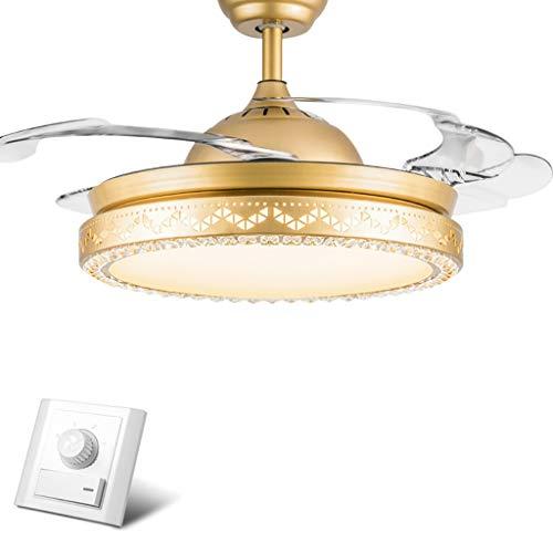 TXDZ Ventiladores de techo invisibles con lámpara, lámpara de control de pared...