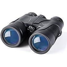 K&F Concept - 10 x 42 Telescopio Binoculares Prismáticos Plegables con BaK-4 Prisma (Impermeable, 42mm Diámetro, Distancia Ajustable, Conciertos, Vigilancia, Viaje, Senderismo etc ) - incluye Correa + Tapas Lentes Protectores + Tapas de Ojos + Paño de Limpieza + Mochila EVA