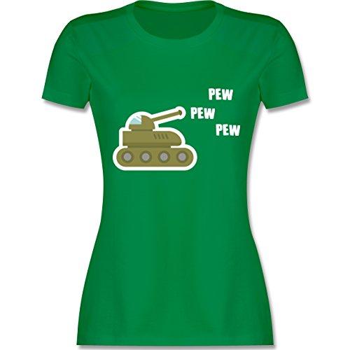 Andere Fahrzeuge - Pew Pew Panzer - tailliertes Premium T-Shirt mit Rundhalsausschnitt für Damen Grün