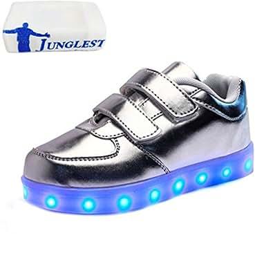 [Present:kleines Handtuch]Schwarz EU 25, USB LED JUNGLEST® Schuhe weise Unisex Klettverschluss Kinde