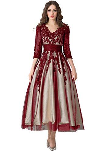 Sunvary Traumhaft Neu V-Neck Spitze Arm Abendkleid Partykleider Rot
