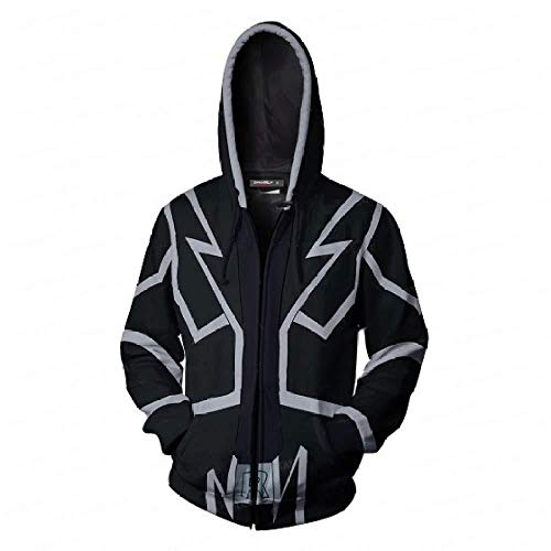 Herren Zip Hoodies Fashion Freizeit New Game Yu-Gi-Oh Muster Herren Sweatshirts Jacke Jugend,M