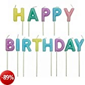 PME - Candele Decorative per Torte - Happy Birthday Pastello, Confezione da 13