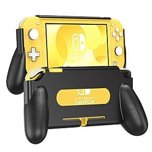 TiMOVO Griff Halterung Schutzhülle Kompatibel mit Nintendo Switch Lite, Rückseitige Hülle mit Komfortabler und Ergonomischer Schalthebel, Stoßfest und Haltbar Hülle, Spielkonsole Zubehör – Schwarz