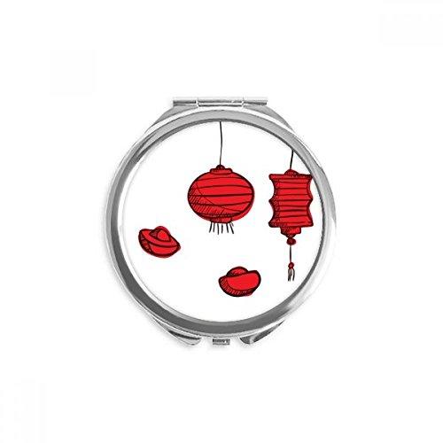 DIYthinker Rote Laternen chinesischen Jahr des Hahns Spiegel Runde bewegliche Handtasche Make-up 2.6 Zoll x 2.4 Zoll x 0.3 Zoll Mehrfarbig
