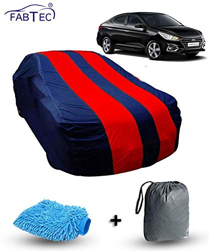 Fabtec Car Body Cover for Hyundai Verna New Red & Blue Colour with Storage Bag + Microfiber Glove Combo!