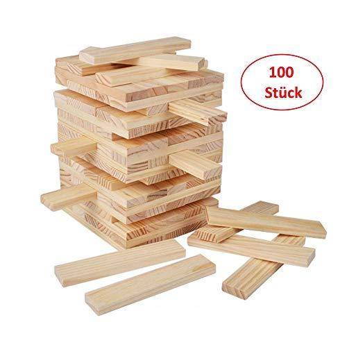 B&Julian® Natur Holzbausteine Holzbauklötze 100 unbehandelte Holzbaukasten als Bauspielzeug Wackelturm für Kinder