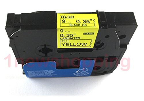 Compatibile per Brother P-Touch TZe TZ Black on Fluorescent Yellow Label tape 6mm 9mm 12mm 18mm 24mm 36mm all size TZe-C21 9mm Black/Yellow
