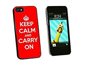 Graphics and More Keep Calm and Carry On Red Snap-On Hard Protective Case for iPhone 5/5s - Non-Retail Packaging - Black