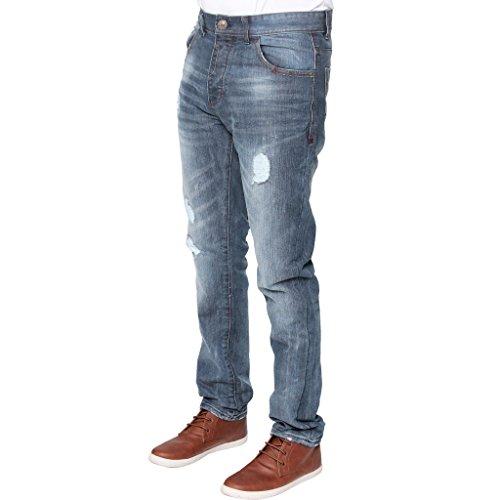 NEU Enzo Herren enge Passform Zerrissen konisch blau Jeans Midstone Wash