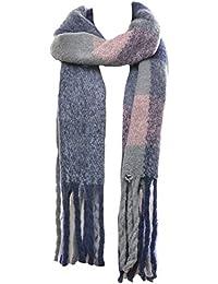 Mevina Schal Wollschal XXL Karo mit langen Fransen und Wolle Winterschal groß rechteckig warmer Winter Schal