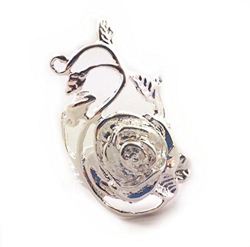 Anello a fascia da pollice, placcato in argento, con cespuglio di edera rampicante e fiore di rosa, grande, misura italiana 17,5, idea regalo per donne