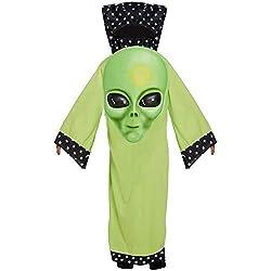 Infantil Verde Jumbo Cara ALIEN Marciano Disfraz de carnaval disfraz de Halloween Niños - Verde, Large Ages 10 -12 Years
