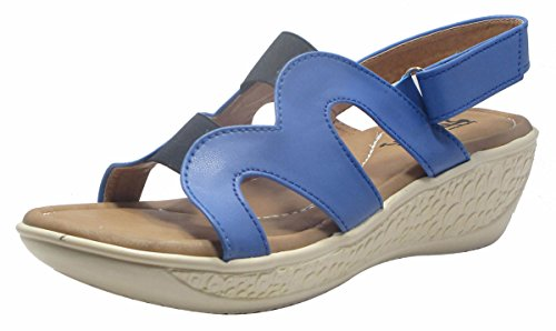 Sammy petites sangle arrière wedge bout ouvert 's chaussures de sport femmes sandale Bleu