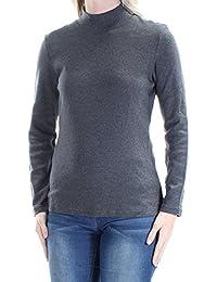5a25ccef323540 Karen Scott Womens Gray Long Sleeve Jewel Neck Top Petites Size  S