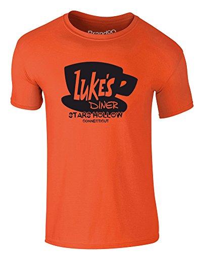 Brand88 - Luke's Diner, Erwachsene Gedrucktes T-Shirt Orange/Schwarz