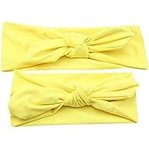 Diademas para bebé y madre, Sannysis 2PCS Joyas para el pelo Conejo arco Hairband (Amarillo)