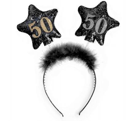 Unbekannt PartyDeco Stirnband mit Nummer 50, Farbe Schwarz/Gold, OP50