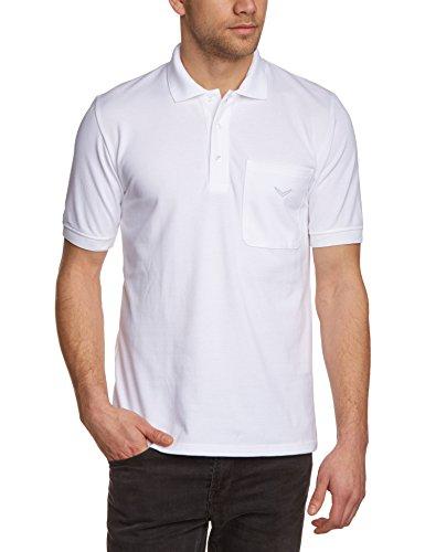 Trigema Herren Poloshirt Brusttasche, Einfarbig, Gr. Medium, Weiß (weiss 001) (Weiß Herren Tasche)