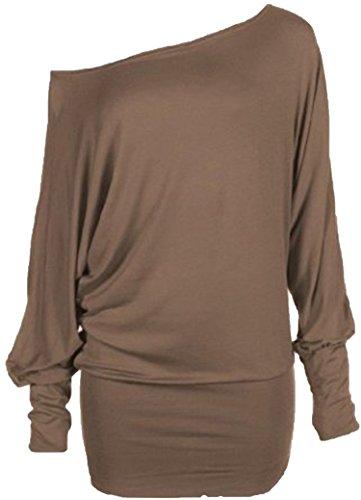 Femmes manches longues Encolure dames raffinent une épaule Batwing Top T-shirt Tunique épaule à manches longues pour Hauts Femme taille 36-54 Moka