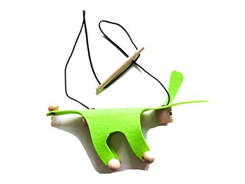 e Kindermarionette Holz Filz Kalle Fux Kinder Kind Esel Hund neon-grün ()