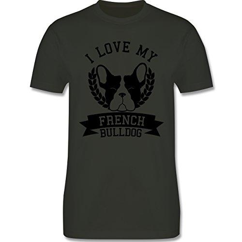 Shirtracer Hunde - I Love My French Bulldog - Herren T-Shirt Rundhals Army Grün