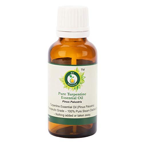 R V Essential Reines Ätherische Terpentine Öl 100ml (3.38 Unzen) - Pinus Palustris (100{be507f18ed4bb2936b808b1034287fdeac567d0c33c700f93663fab20d07d432} reiner und natürlicher Dampf destilliert) Pure Turpentine Essential Oil
