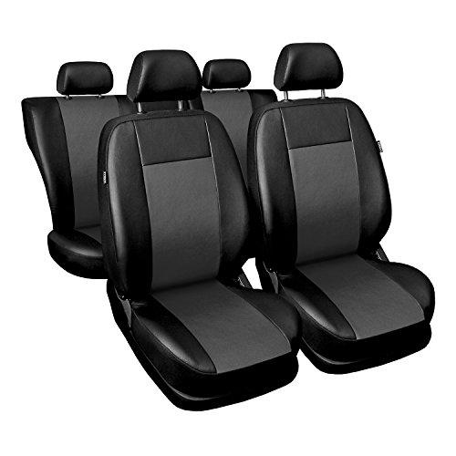Universal Grau Kunsleder Sitzbezüge Komplettset Sitzbezug für Auto Sitzschoner Set Schonbezüge Autositz Autositzbezüge Sitzauflagen Sitzschutz Comfort (Civic Honda Sitzbezüge Auto)