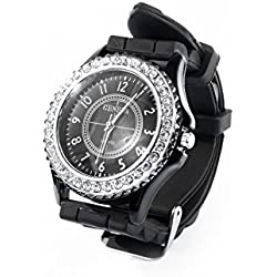 New Fashion 14 colors Ladies brand GENEVA Watch Classic Gel Crystal Silicone Jelly watch (Black)