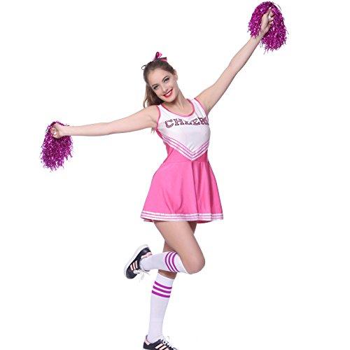 Anladia Mädchen Cheerleader Kostüm Dame Halloween Kostüm Kleid Cheerleading Bekleidung mit 2 Pompoms Rosa