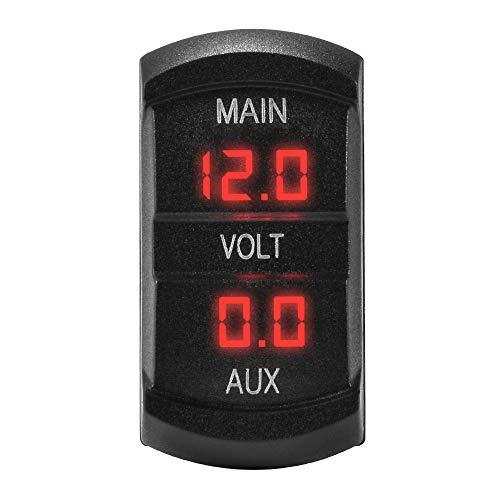 Preisvergleich Produktbild Kreema 12-24 V Auto Dual Voltmeter 3-stellige Rote LED-anzeige Spannung Meter Batterie Monitor Halterung Panel Stecker für Marine Boot