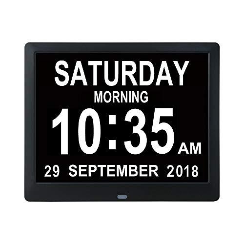 """WULAU 8,7\"""" Digital Wecker, Digitaler Kalender Tag Uhr für Demenz,Kinder, Senioren, Sehschwache und Alzheimer Patienten, Großer Schrift"""