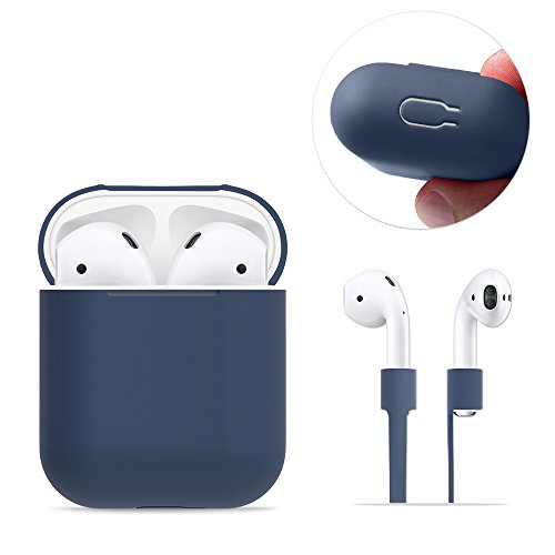 Foto de AirPods Case Protective, FRTMA Silicone Skin Case with Sport Strap for Apple AirPods, Midnight Blue