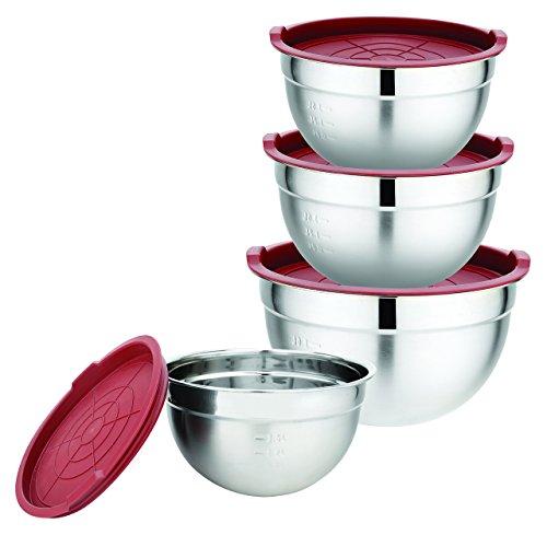 Ciotole in acciaio con coperchio ermetico in silicone rosso, set da 4. gourmet tools di xsquo